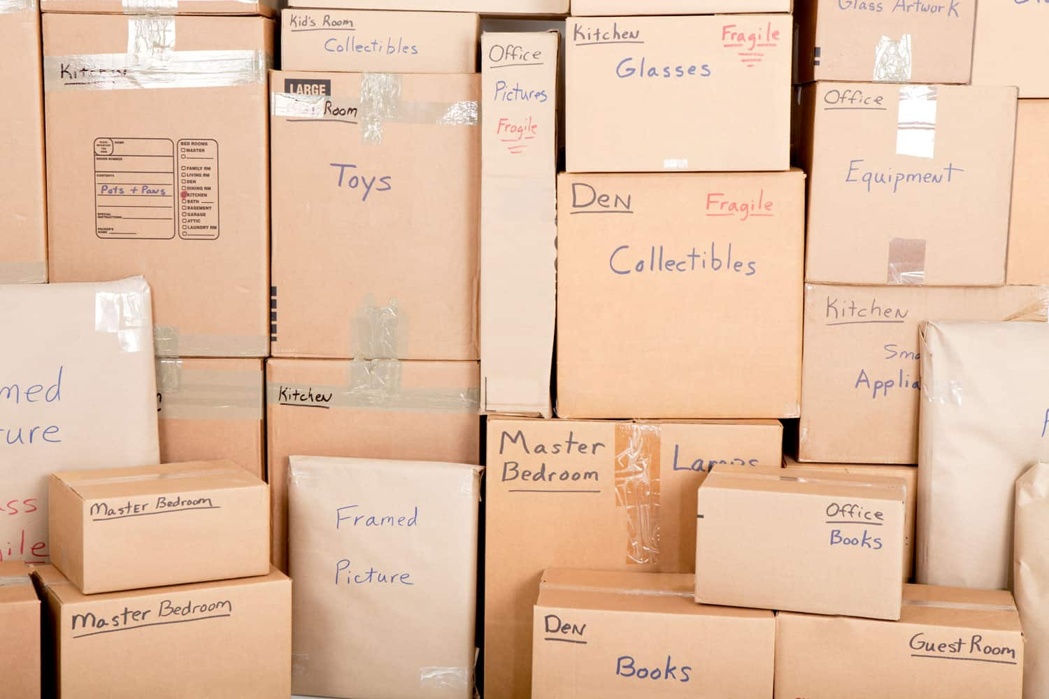 moving boxes that are labeled