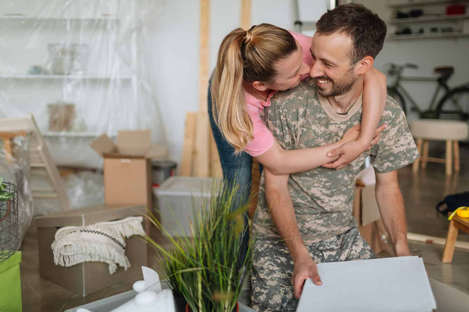 military couple packing up to move cross country