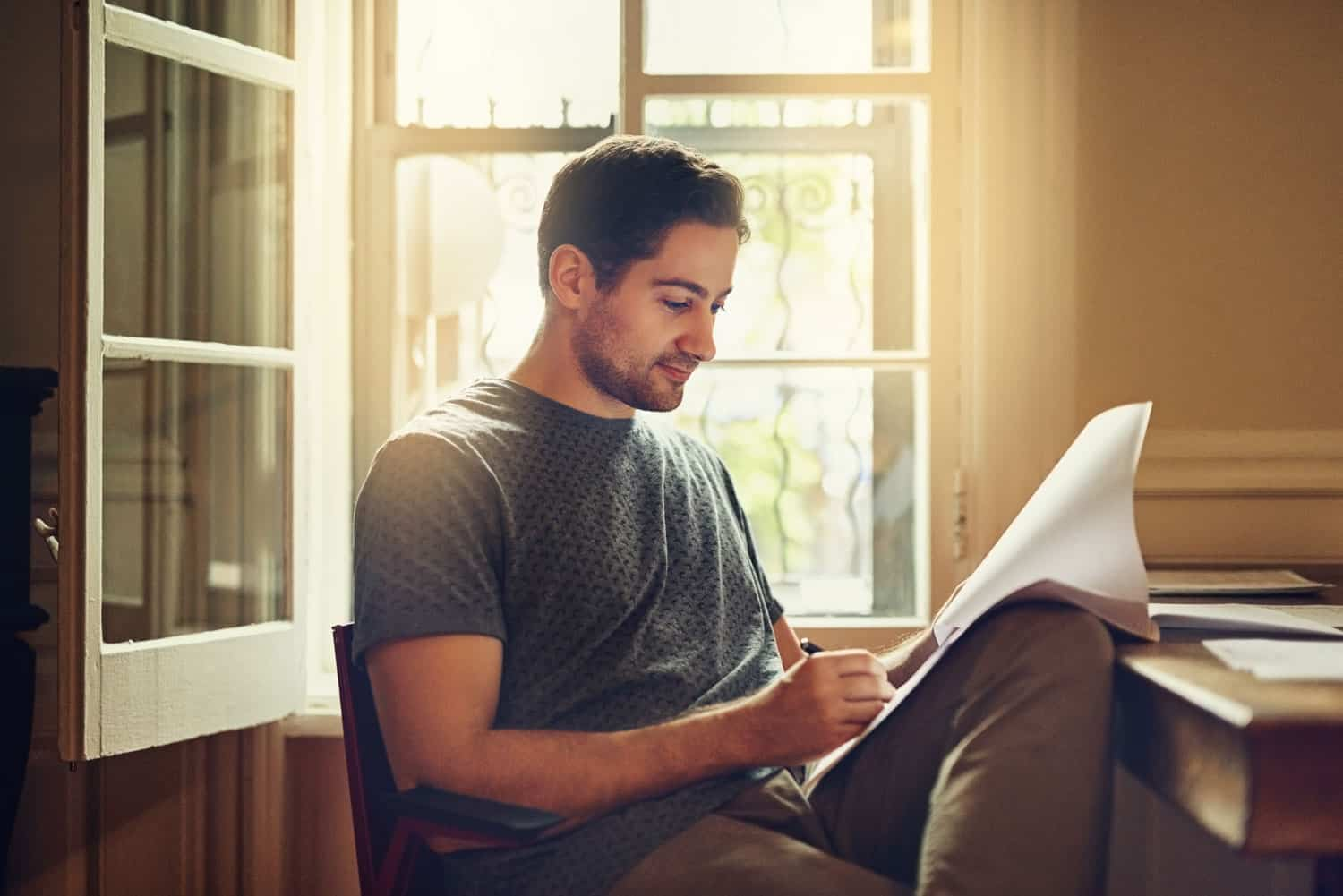 photo of person reading lease