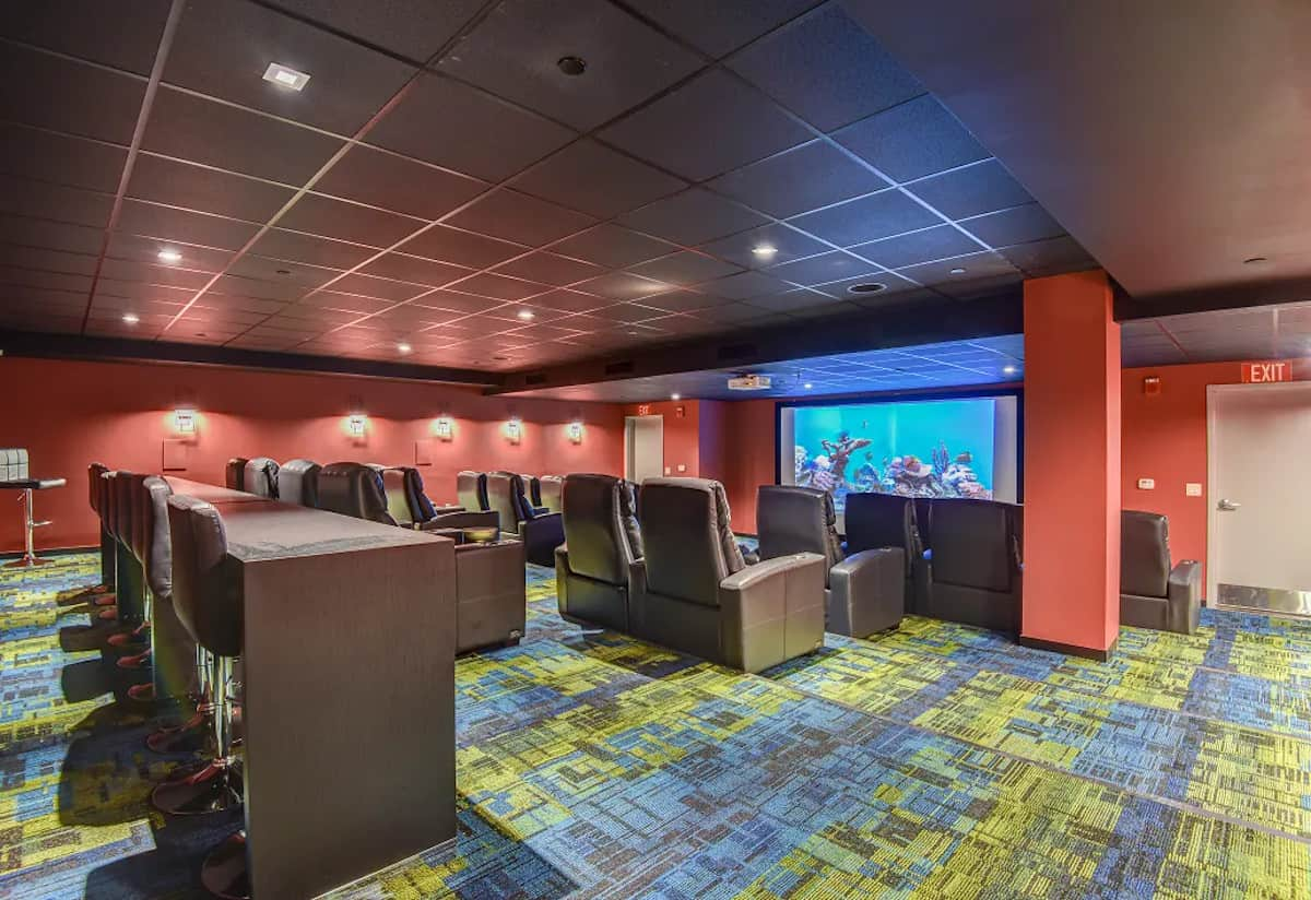 Movie theater in the Spectra Pearl Apartments in Hartford, CT