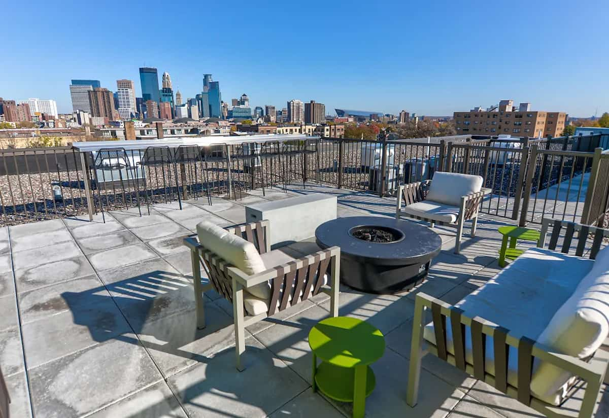 Rooftop lounge at The Whit Apartments in Minneapolis, MN