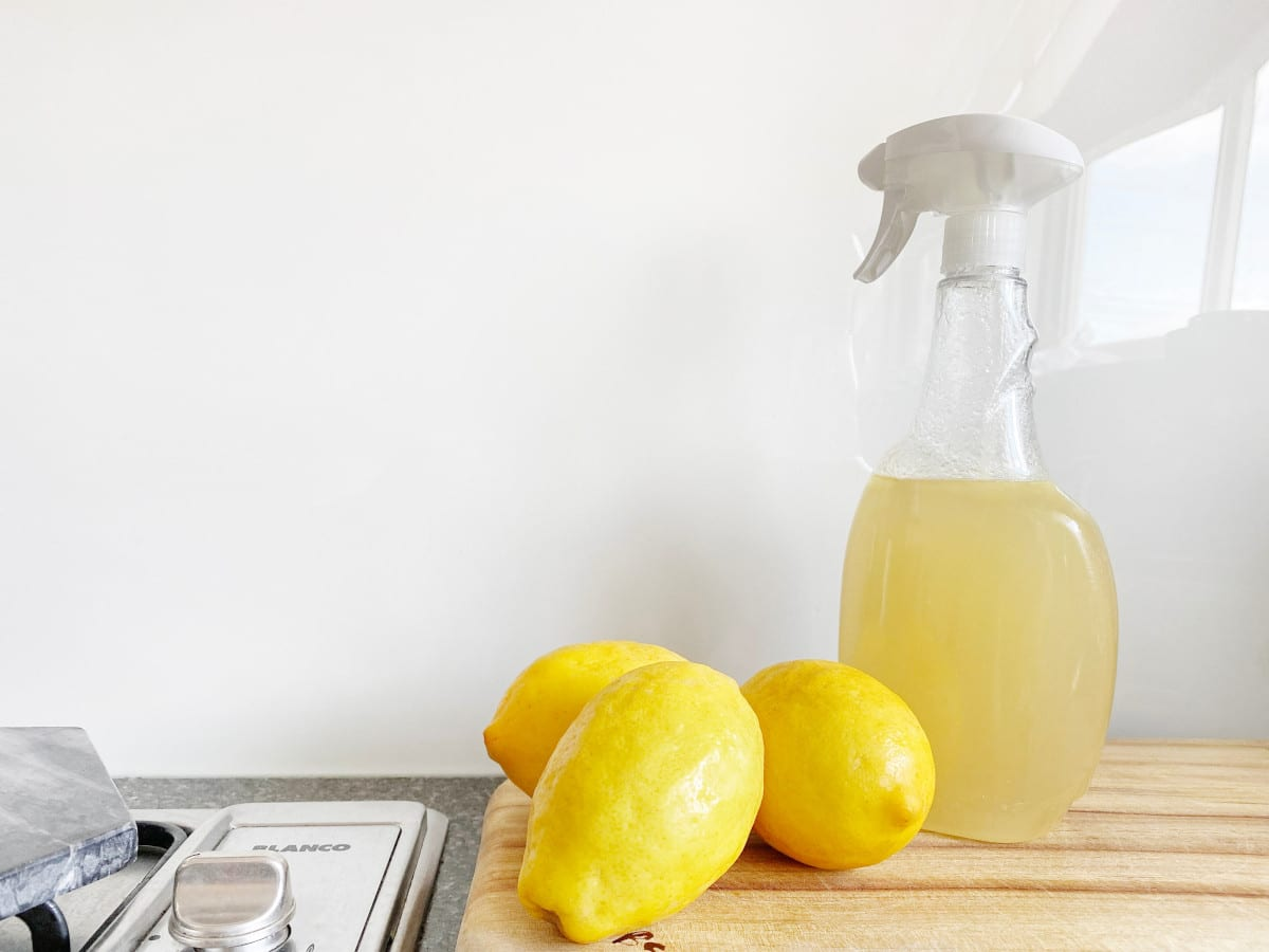 DIY cleaning spray made with lemons