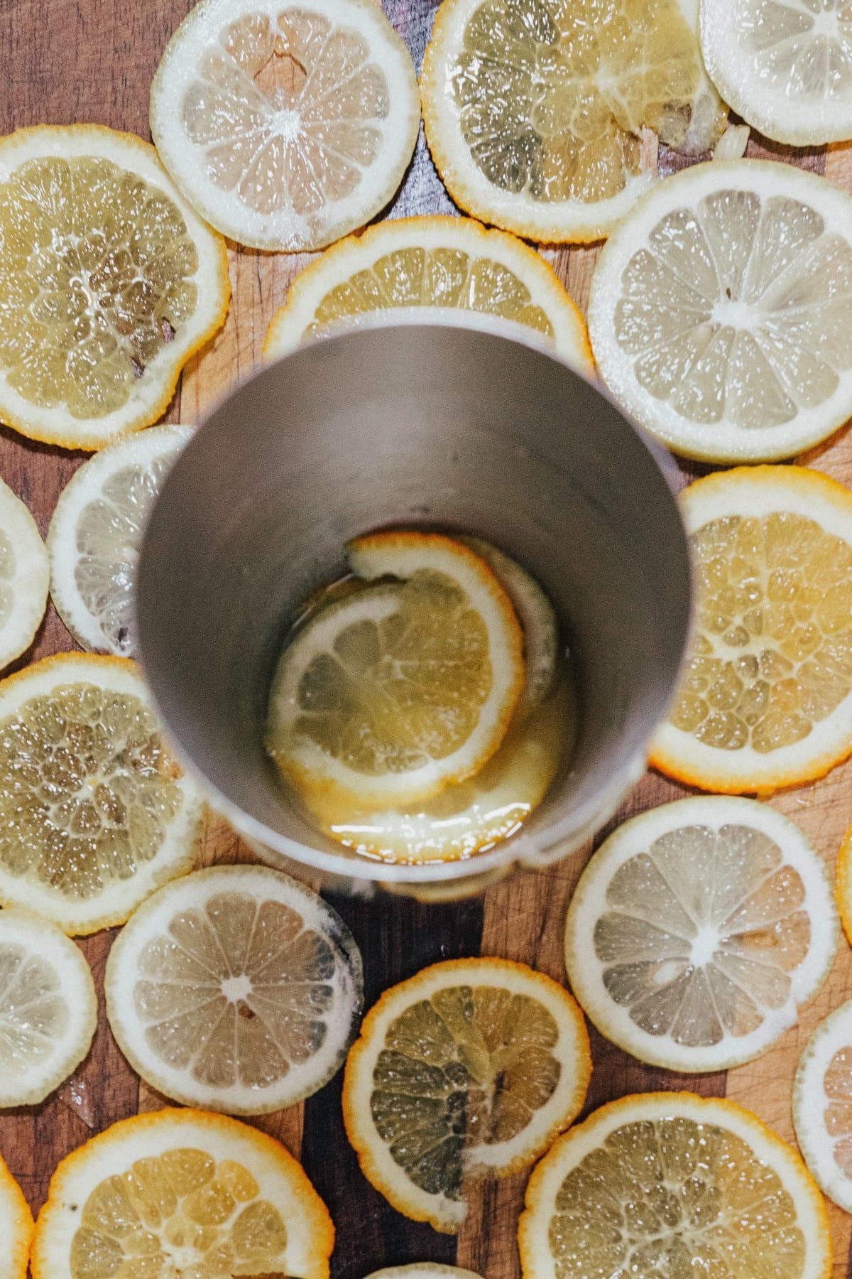Table full of citrus wedges