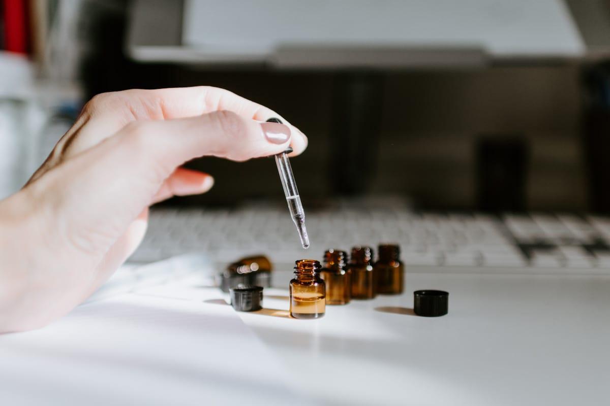 Row of essential oils
