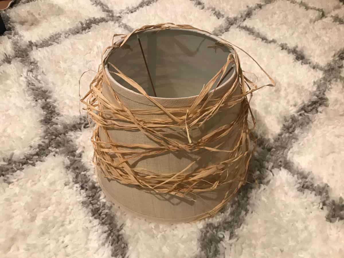 Lampshade wrapped in raffia