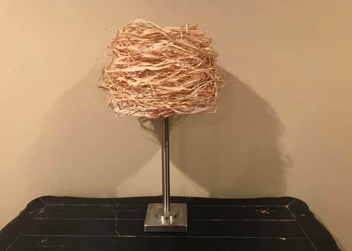 Final look of lampshade with raffia