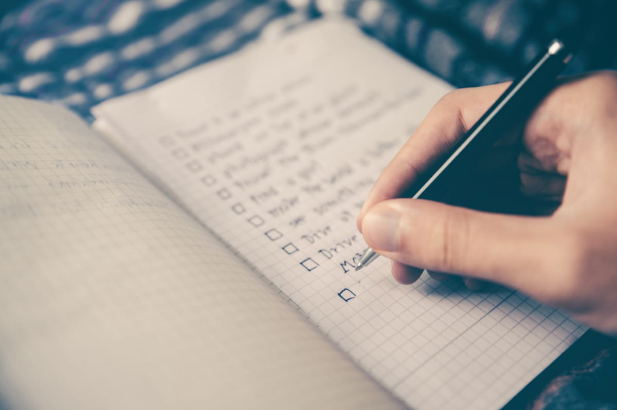 Checking items off a to-do list