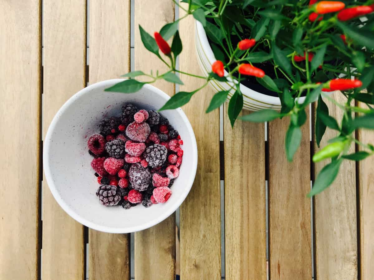 Frozen berries and fresh peppers