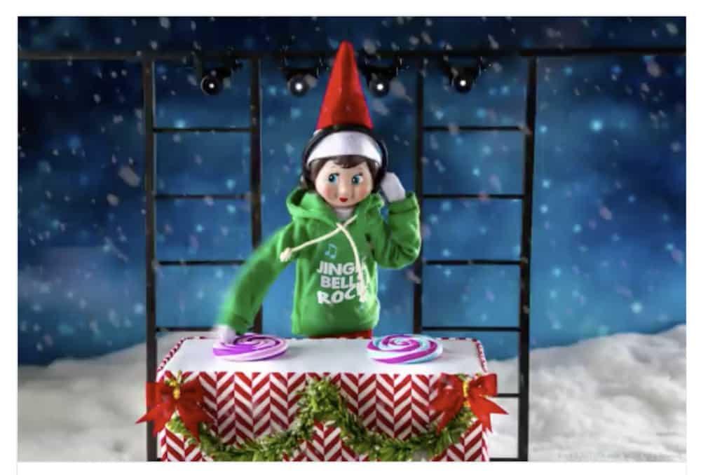 Elf doing DJ duty