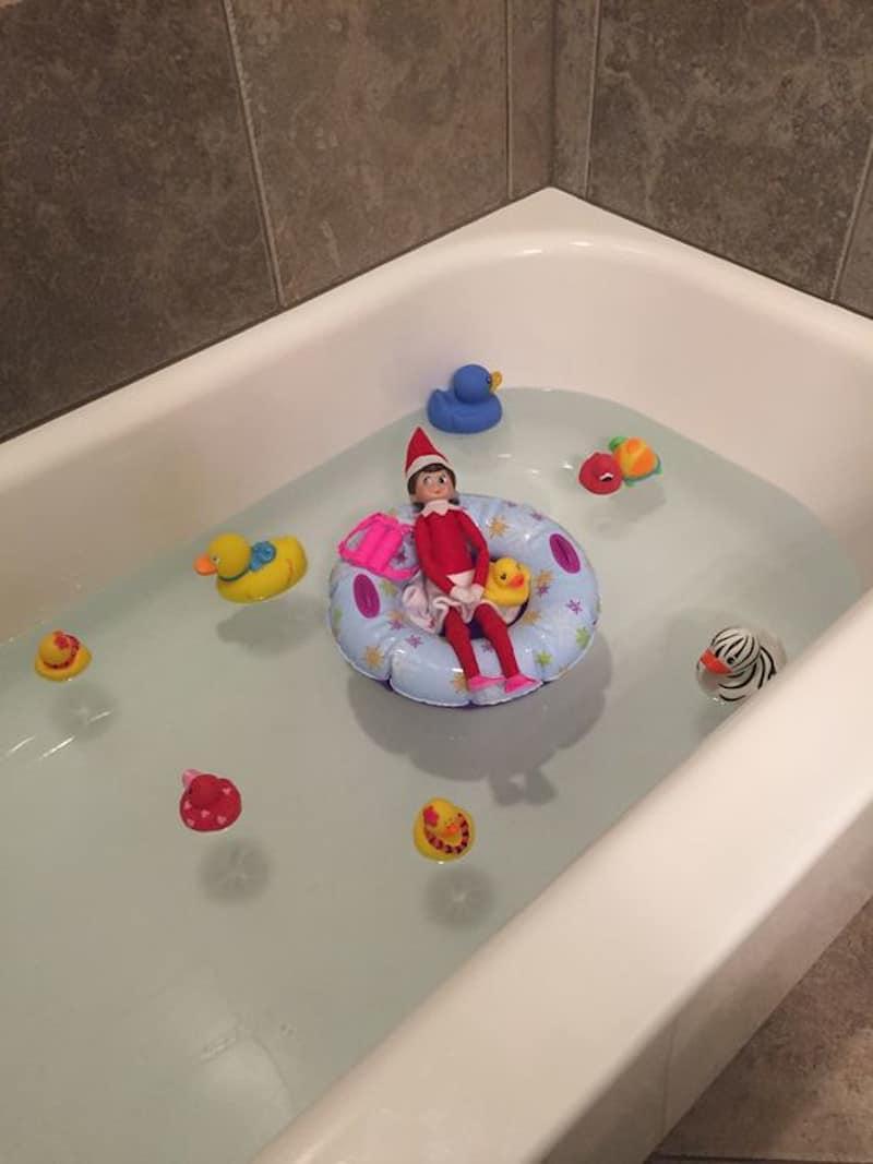 Elf taking a bath