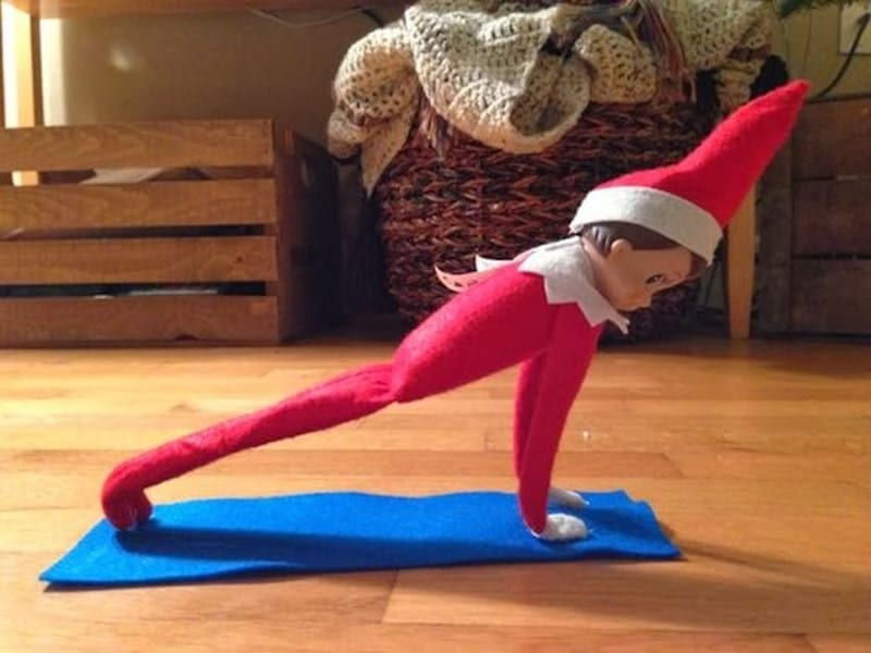 Elf doing yoga