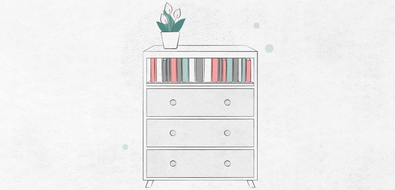 dresser drawer book shelf