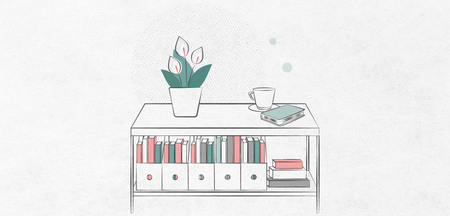 store books under coffee table