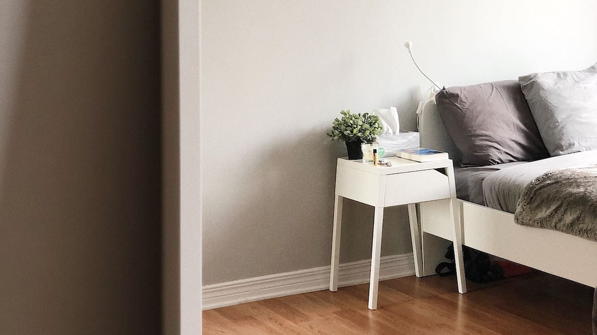 Hardwood floors and a side table with a plant on it next to a bed.