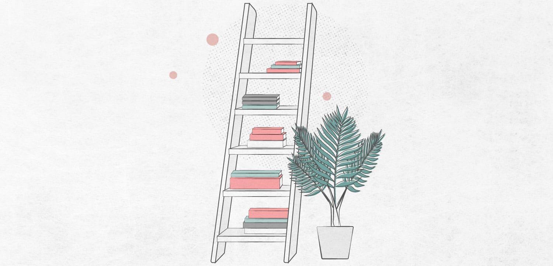 leaning ladder book storage
