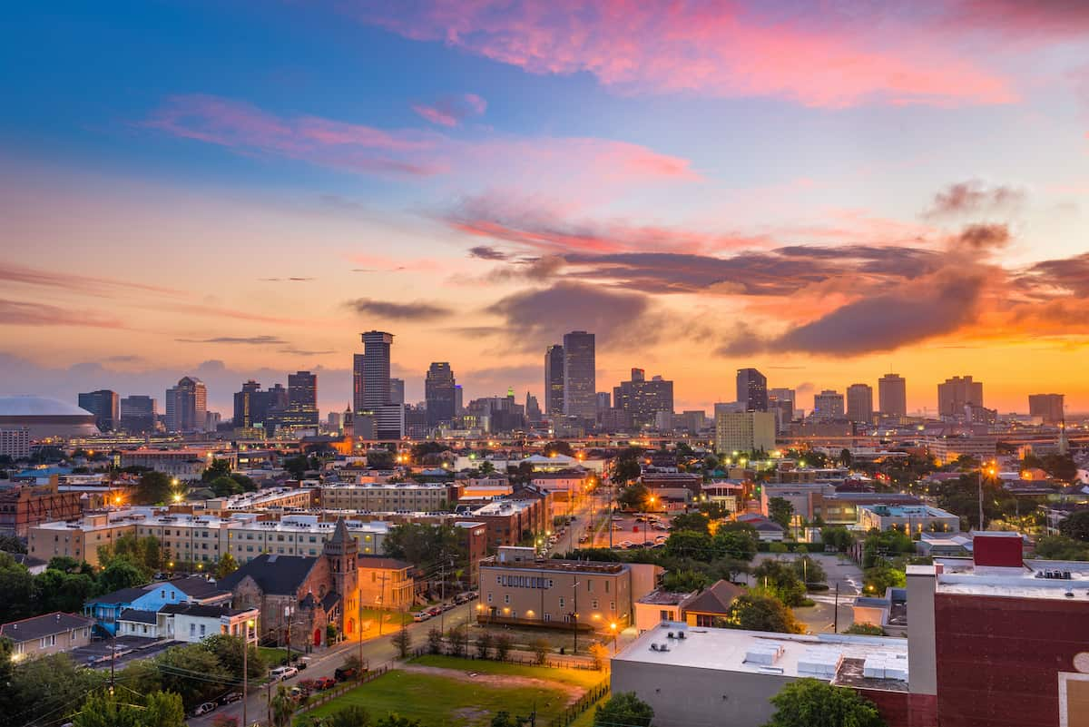 Twilight skyline over the city of New Orleans.