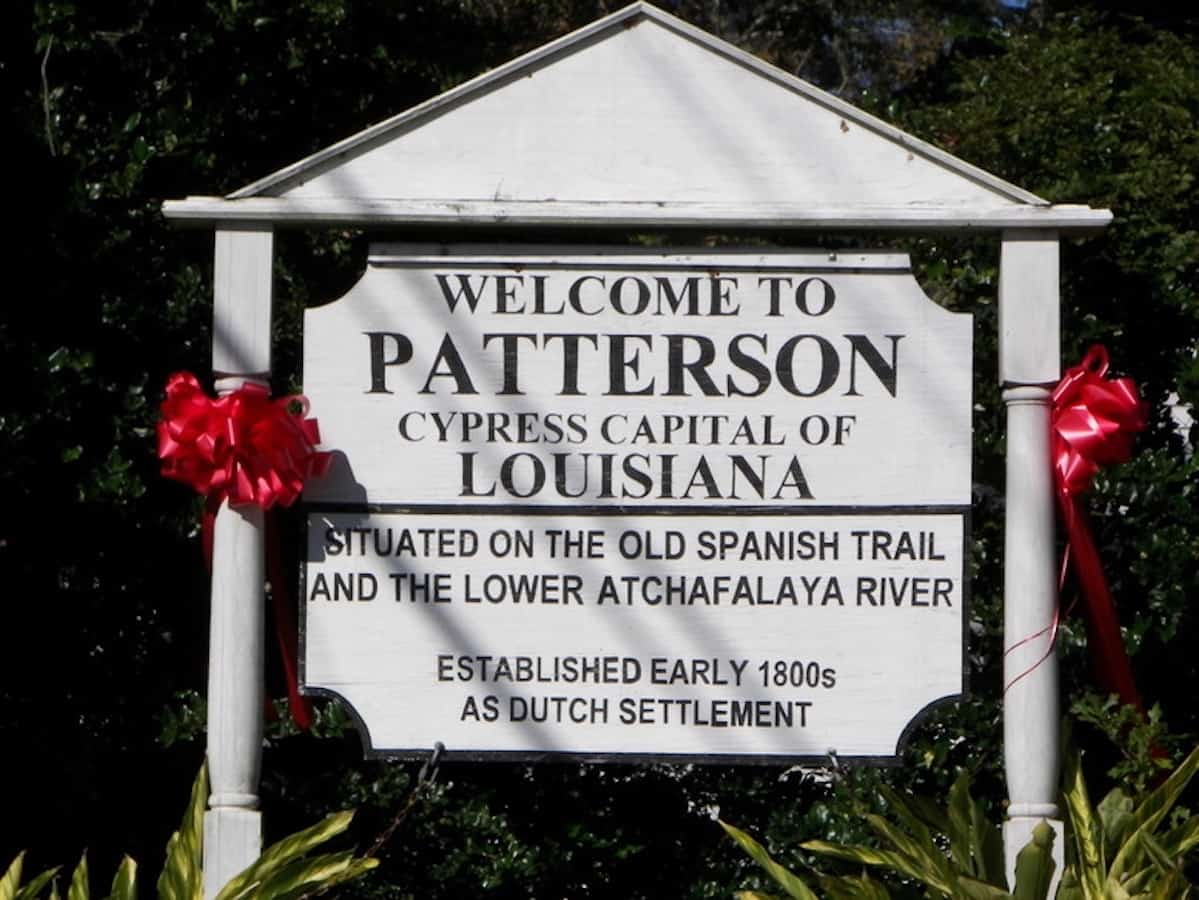 White sign that says Welcome to Patterson, Louisiana.