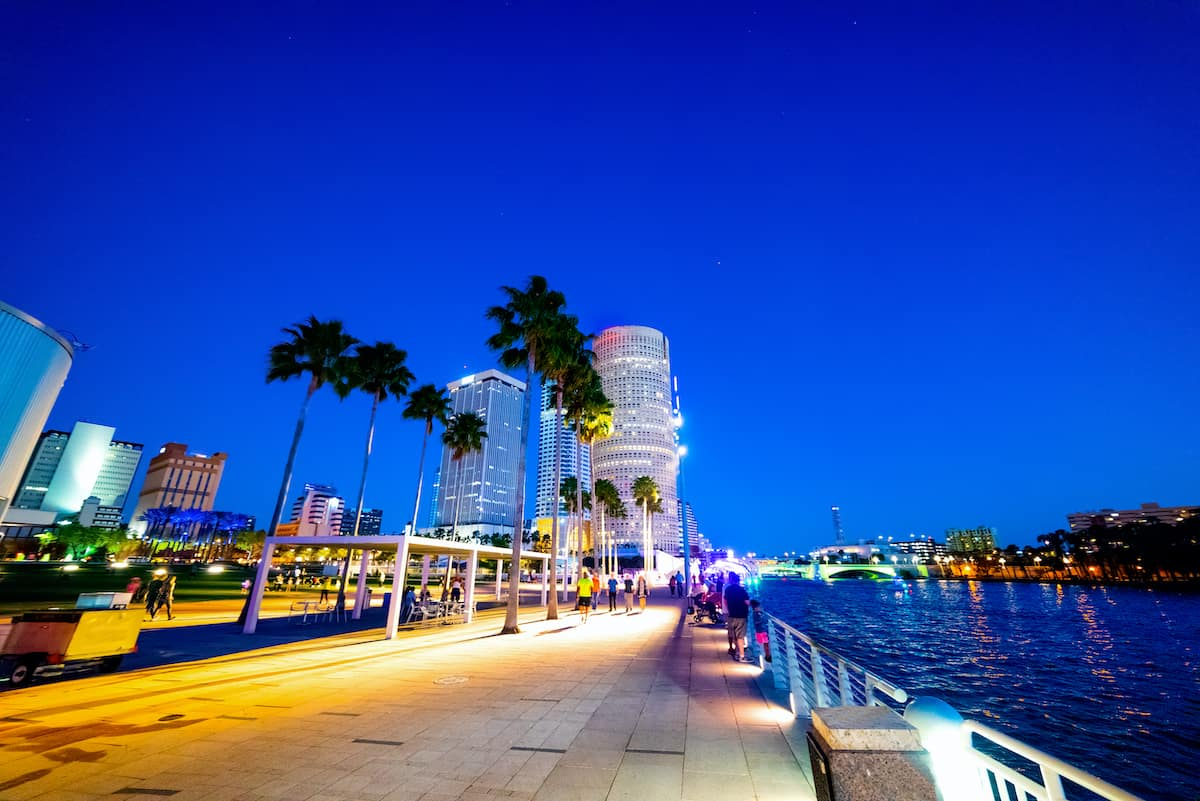 A riverwalk in Tampa, FL lined with palm trees and the city skyline in the background at night.