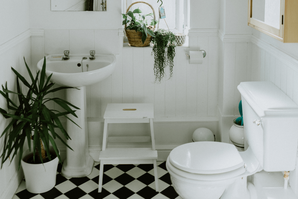 Black and white title floor in a white bathroom with plants.