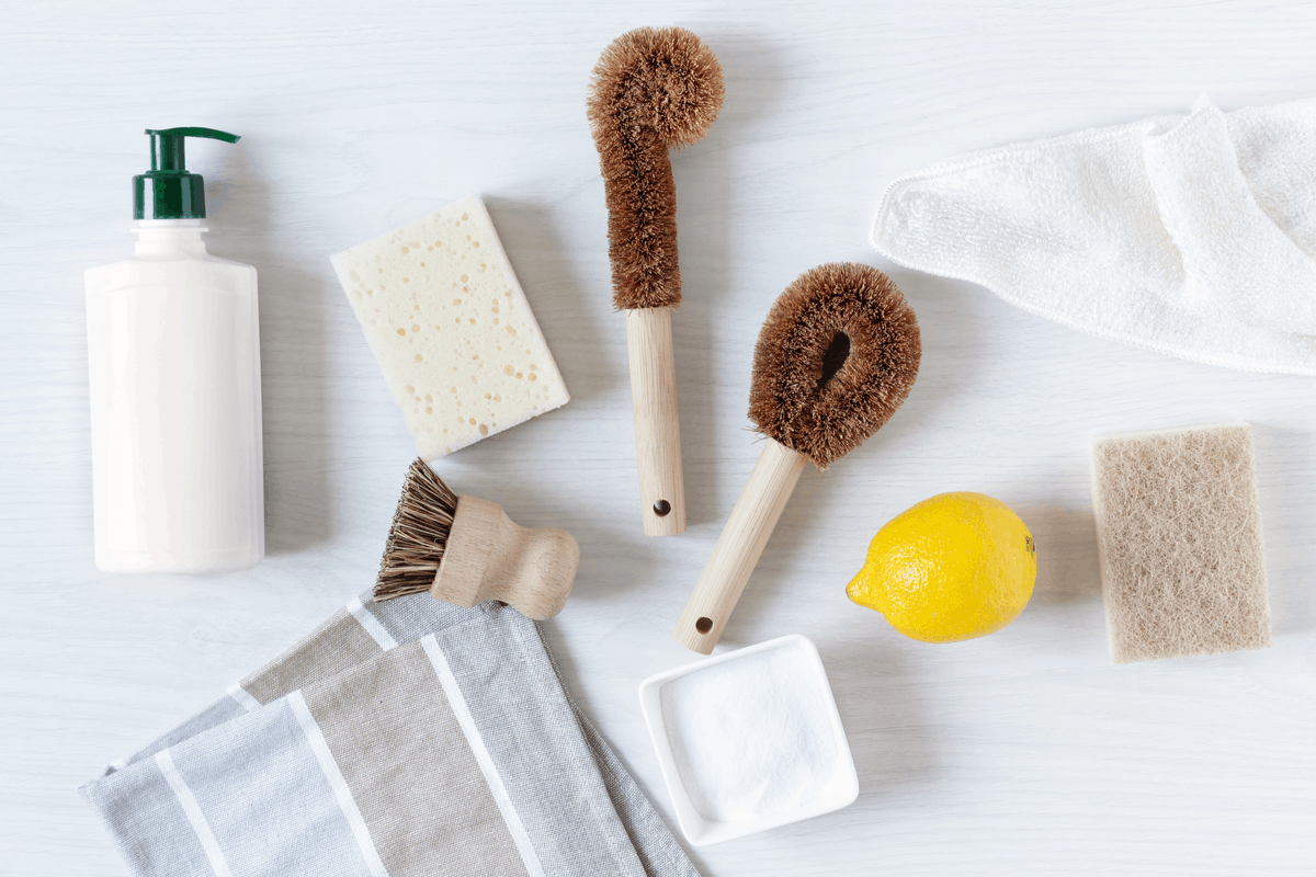Cleaning tools for dishwashing.