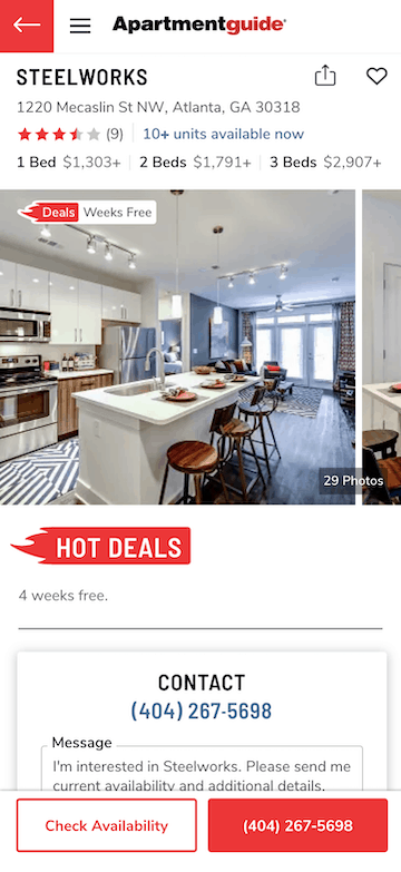 apartment guide screenshot to find hot deals on a move in ready apartment