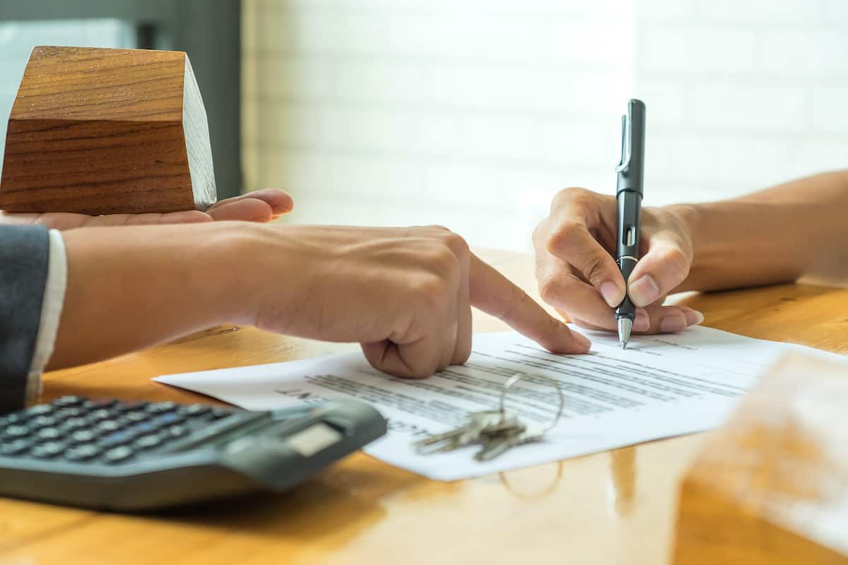 Reviewing a lease agreement.