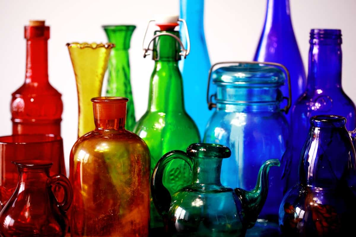 Different kinds of bottle shapes with different colors of green, yellow, red, purple and blue