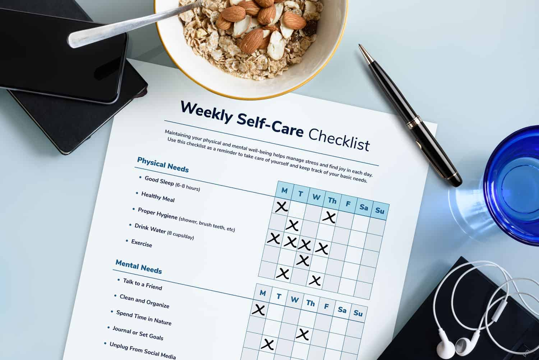 weekly self-care checklist